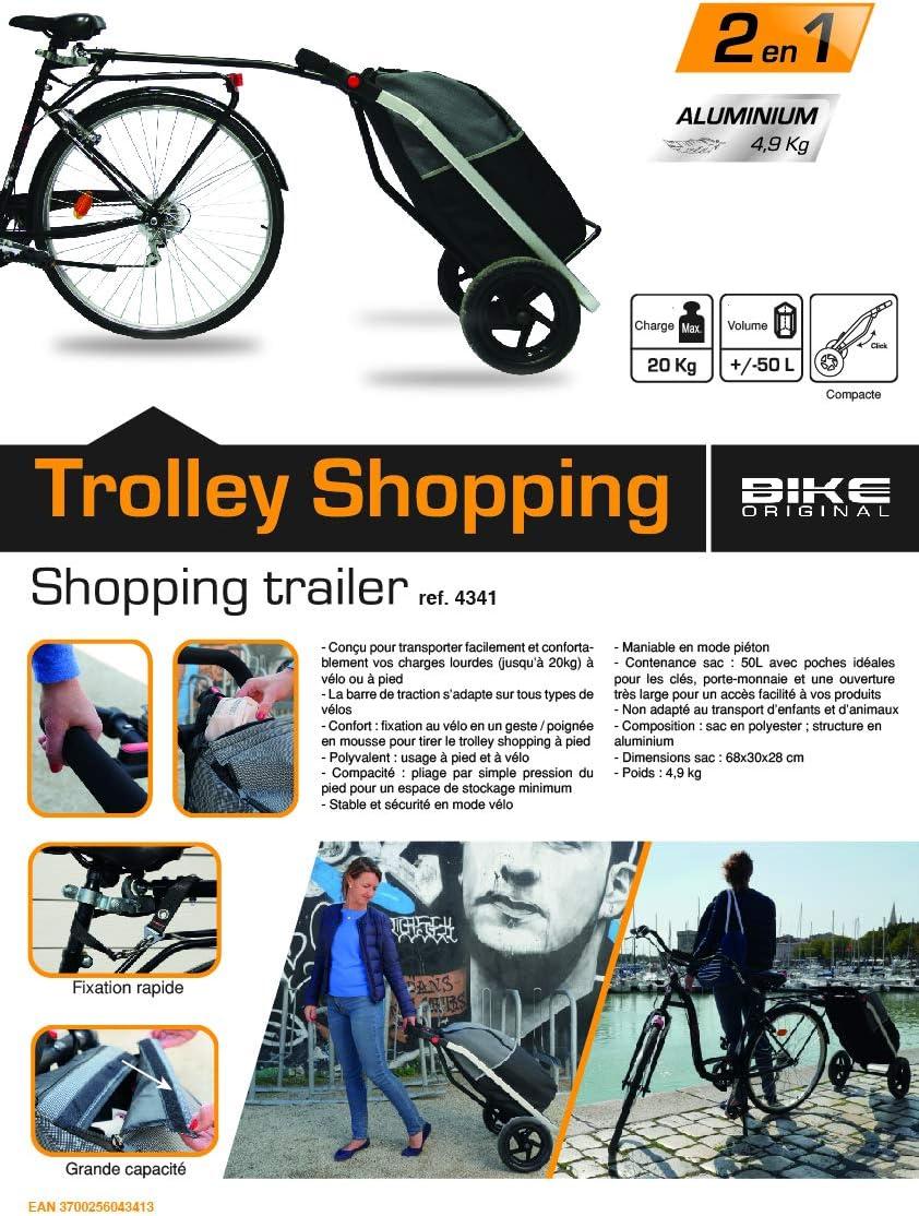 BIKE ORIGINAL Shopping Trailer - Carro Unisex para Adulto, Color Negro y Gris: Amazon.es: Deportes y aire libre