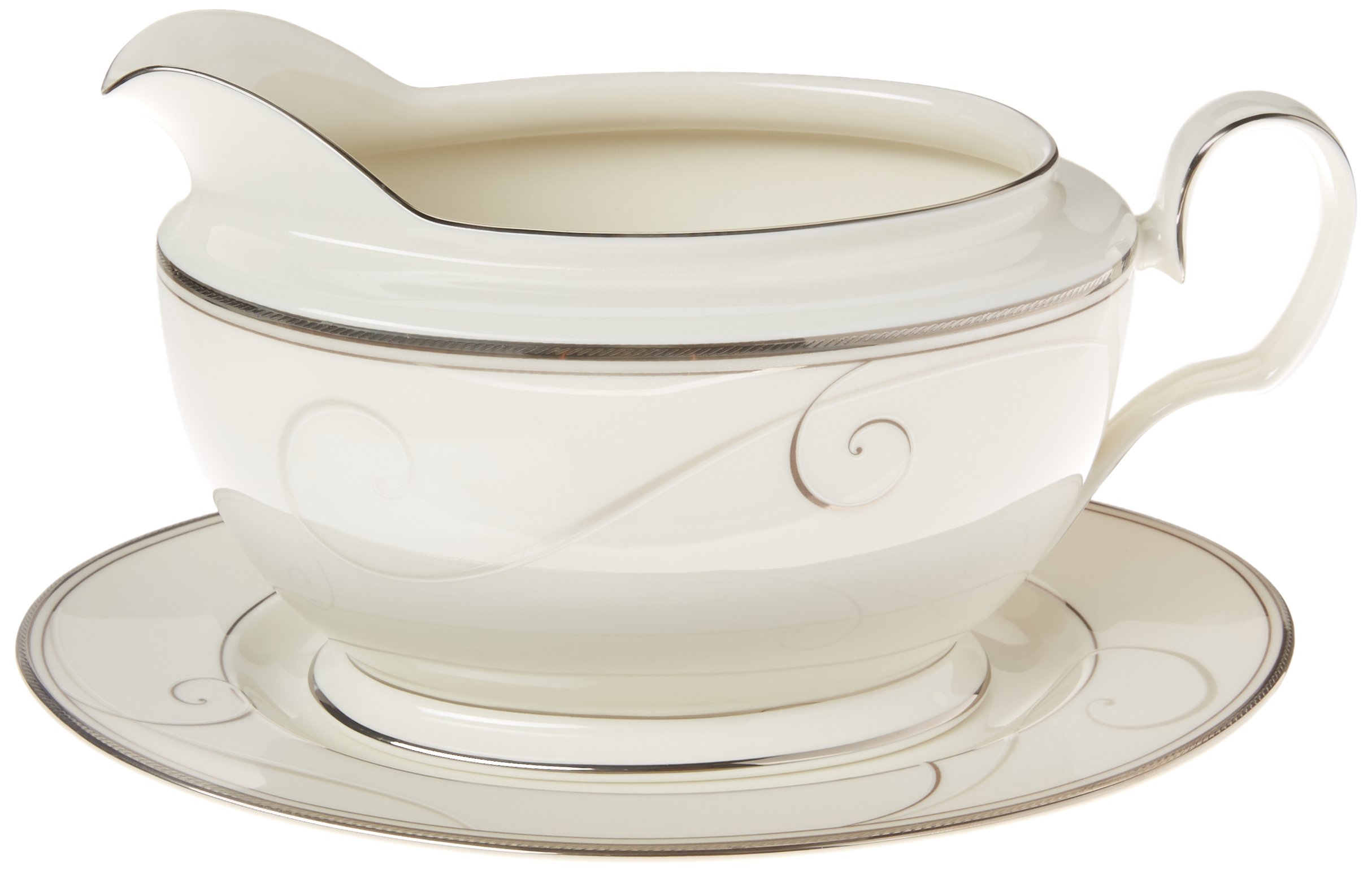Noritake Platinum Wave 2-Piece Gravy Boat with Tray