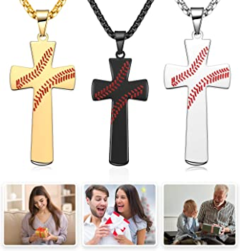 Stocking Stuffers for Kids Baseball Style Goodie Bag Fillers 3 Pieces Stainless Steel Baseball Bat Cross Pendant for Boy Athletes Cross Necklace for Favors