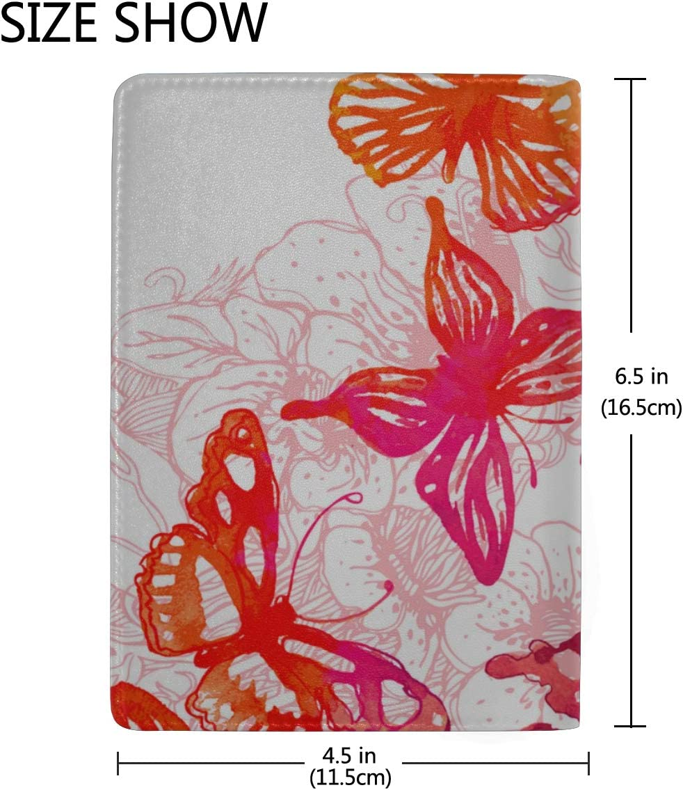 Butterflies With Glowing Firework And Sparkle Stars Blocking Print Passport Holder Cover Case Travel Luggage Passport Wallet Card Holder Made With Leather For Men Women Kids Family