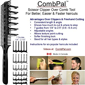 CombPal Scissor Clipper Over Comb Hair Cutting Tool Barber Haircutting Comb Set (Yellow)