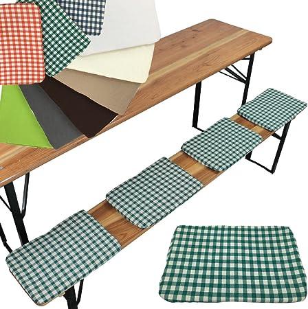 Set x4 de cojines para bancos de picnic o jardín 25 x 36 cm - Cojines con bandas de sujeción para anchos de banco de 25 cm, Color:Cuadros verde: Amazon.es: Hogar