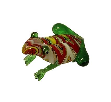 Miniature Hand Blown Glass Yellow Frog  Collectible Animals Figurine Amphibian M