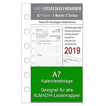 A7 Kalendereinlage 2019 Für Almadih Ledermappen A7 Terminplaner