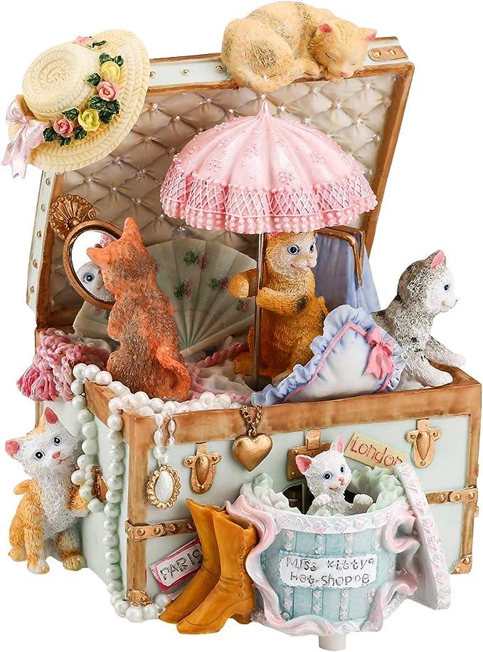 Pink-Love Alytimes Carousel Music Box 4 Horses Rotating Music Box Birthday Valentines Christmas Children Gifts Toy