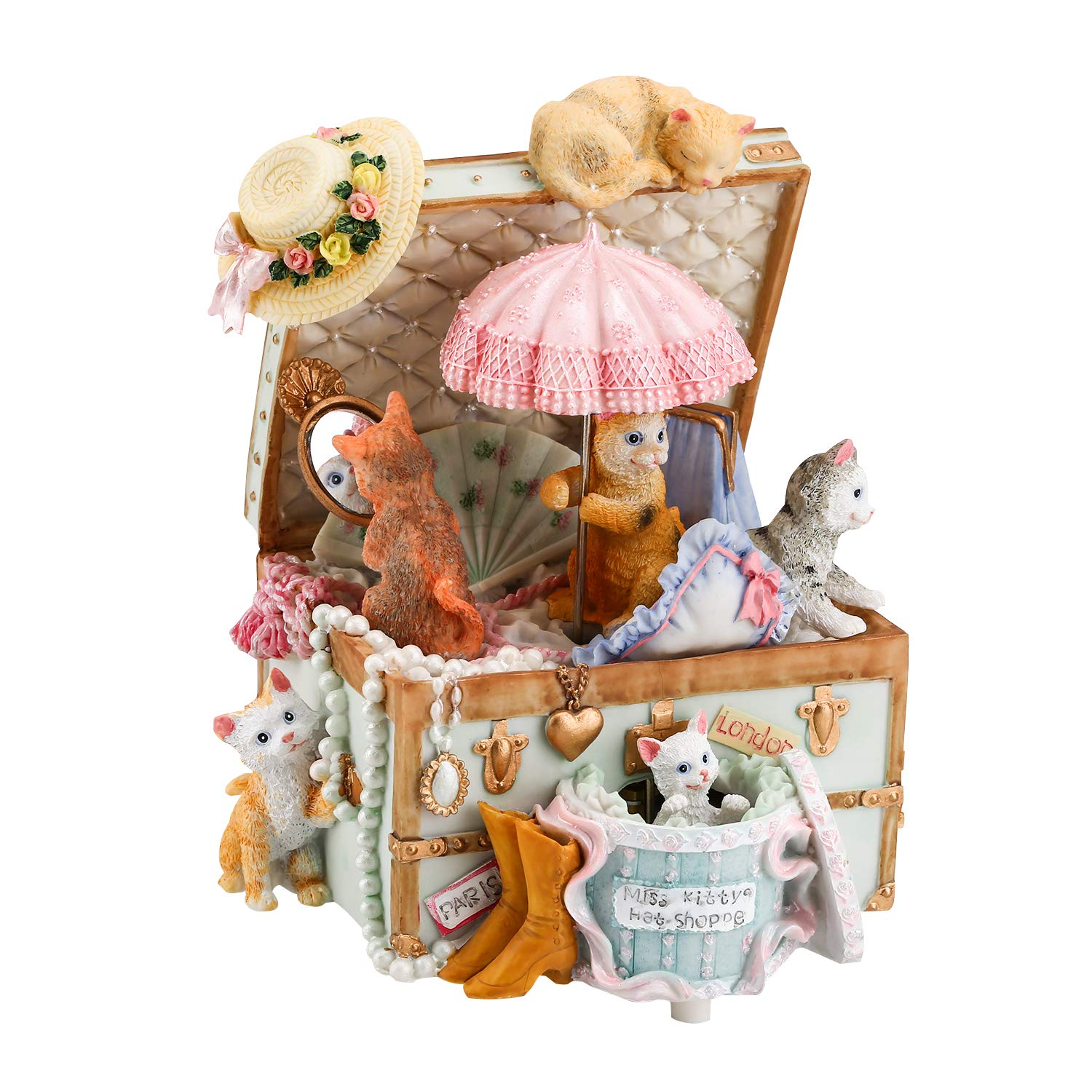 Mr.Winder Cat Music Box Cute Resin Kitty Musical Box Romantic Creative Birthday Gift for Girlfriend Children on Christmas/Birthday/Valentine's Day Castle in The Sky by Mr.Winder