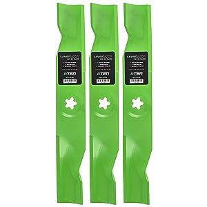 8TEN LawnRAZOR Blade Set 48 Inch Deck for Craftsman AYP Poulan Husqvarna GTH YTH 180054 173920 532180054 Hi-Lift 3 Pack