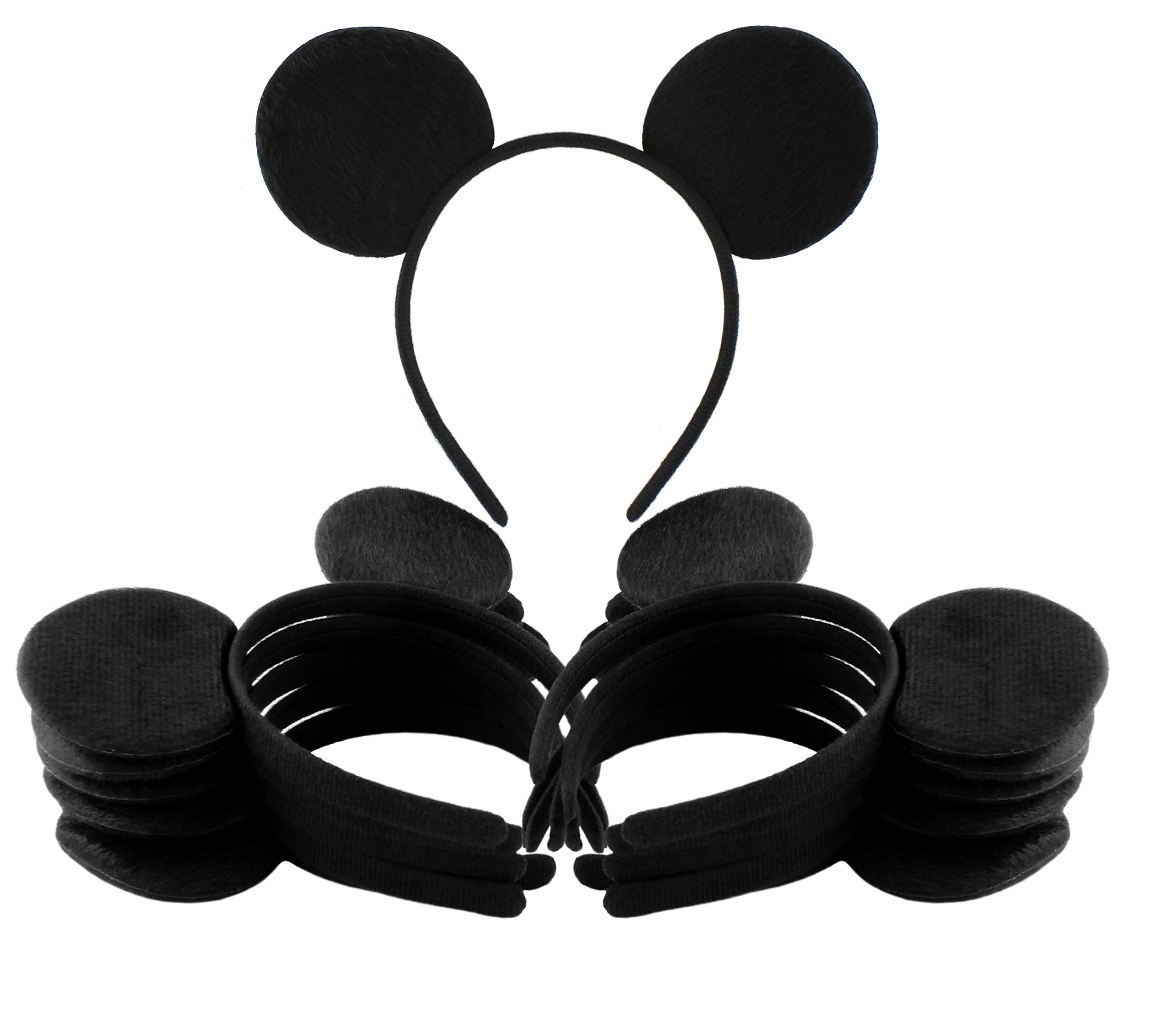 Black Mouse Ear Headbands (12-Pack); Mickey Style Headgear for Costume/Party Favors by Cornucopia Brands