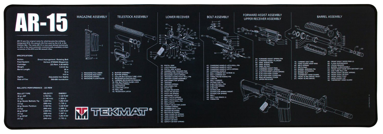 Tekmat Ar 15 Cleaning Mat 12 X 36 Thick Durable Dpms Schematics Waterproof Long Gun With Parts Diagram And Instructions Armorers Bench