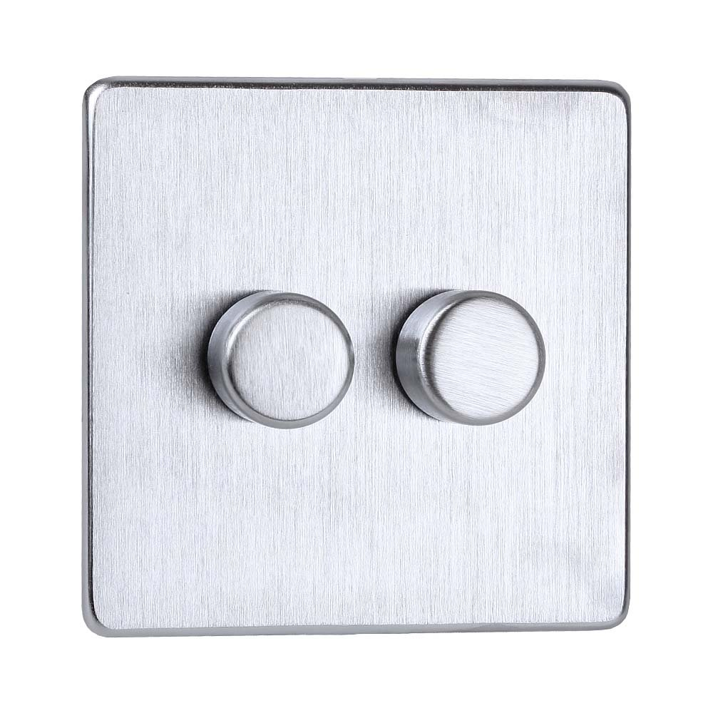 Crabtree Double Dimmer Switch 250 Watt With Clip On Front Plate 2 Way Light Gang Stainless Steel Effect Lighting