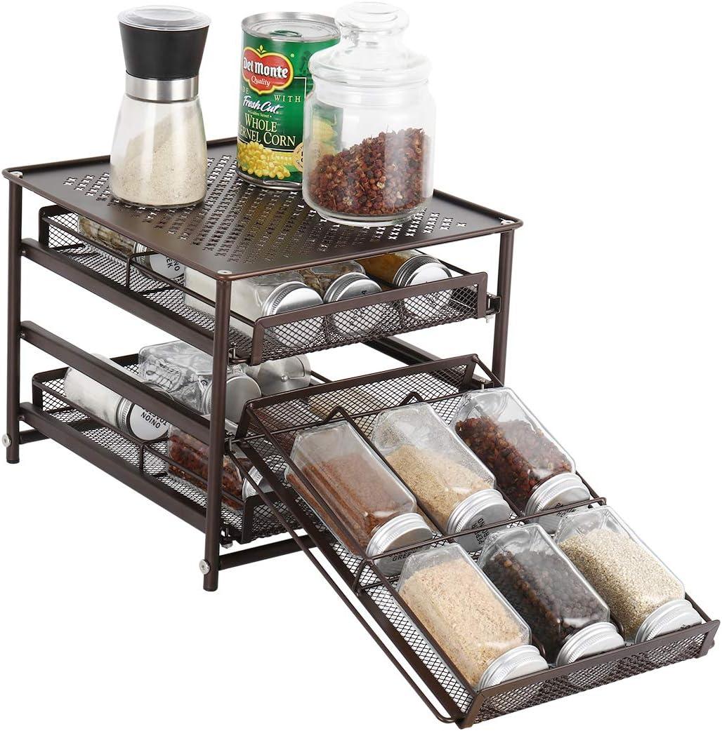 NEX 3-Tier Spice Rack 18-Bottle Standing Spice Drawer Storage Organizer for Kitchen Cabinet Countertop Dark Brown