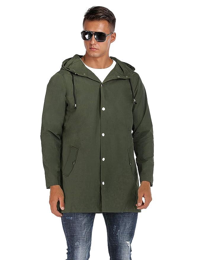 Amazon.com: DOSWODE - Chubasquero con capucha para hombre ...