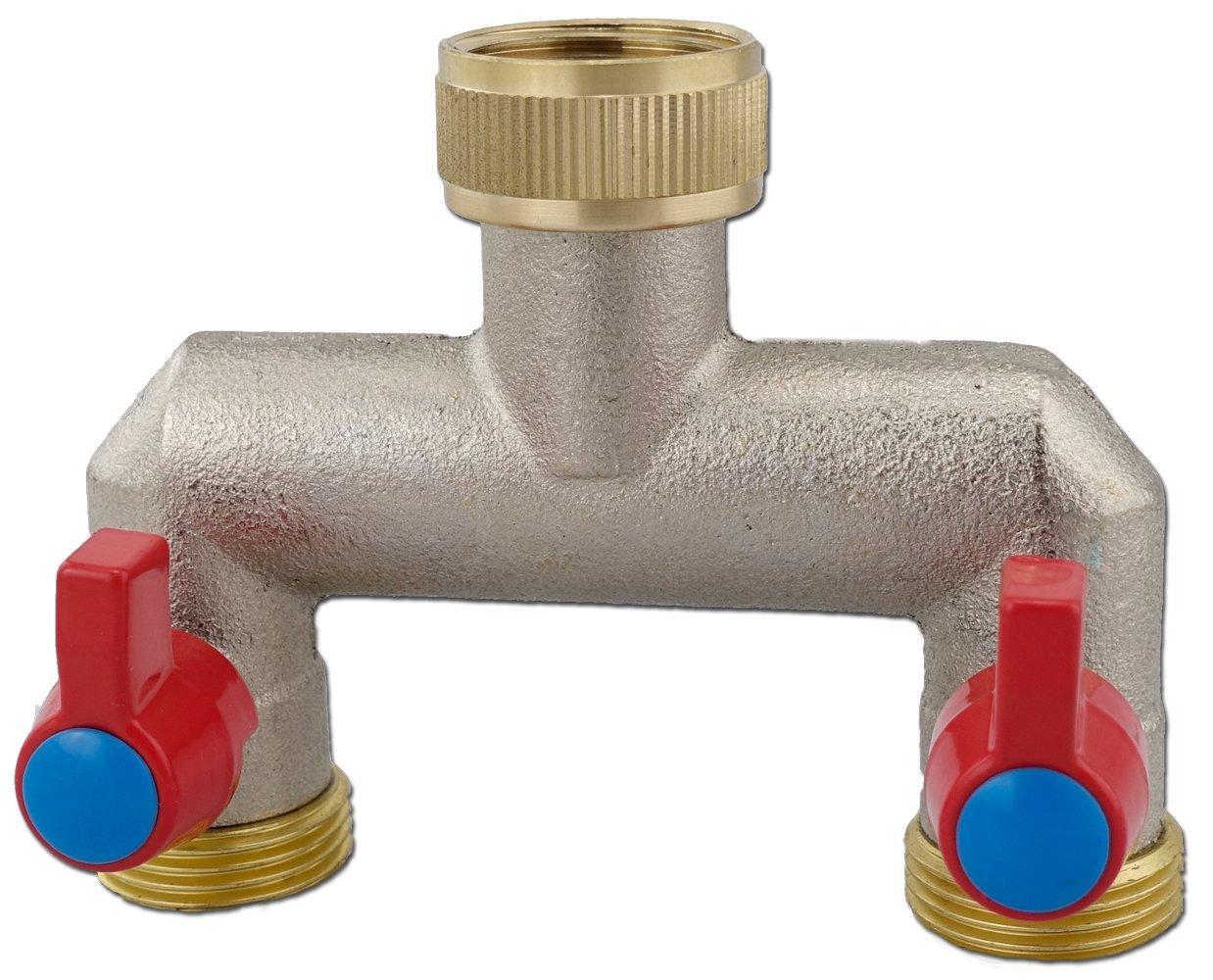 Ideal 2-Wege Verteiler Wasseranschluß mit Absperrhähnen Schlauchanschluß  ZH75