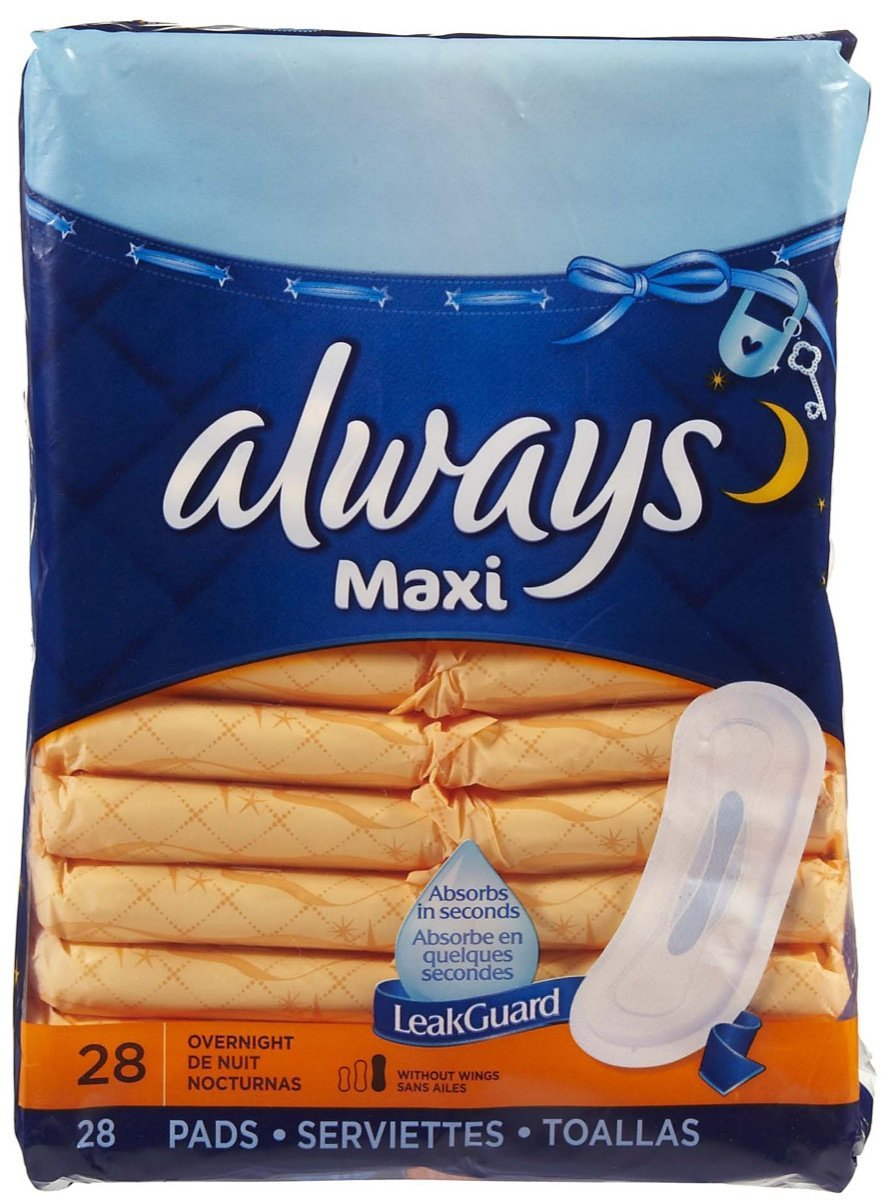 Always Maxi Overnight Without Wings Unscented Pads 28 CT (Pack of 18)