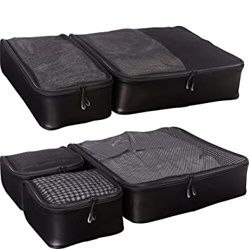 2e76487ce720 eBags Hyper-Lite Travel Packing Cubes - Lightweight Organizers - Super  Packer 5pc Set - (Black)