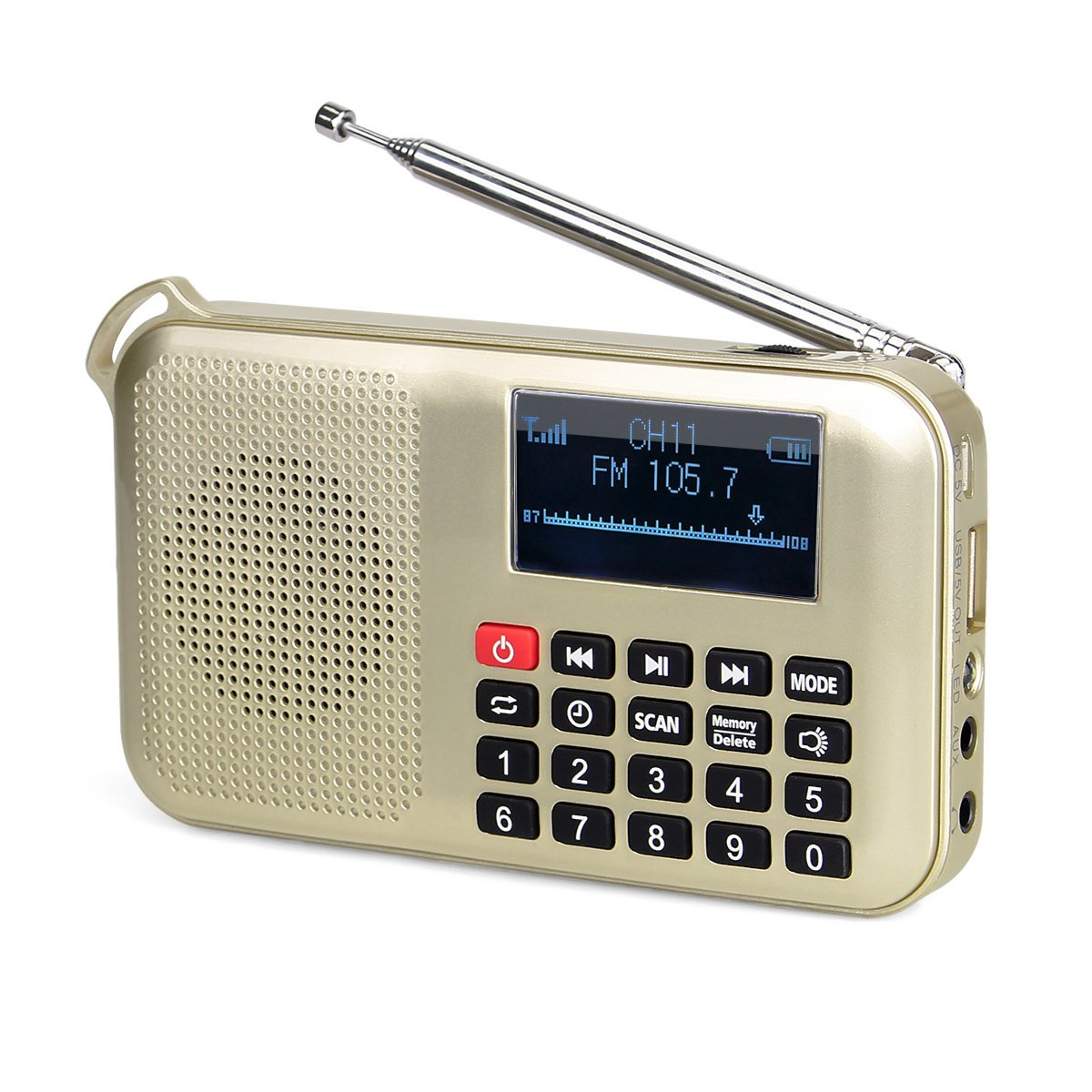 Retekess L-388 Portable FM Radio Solar Powered Digital Battery Powered Support TF Card USB disk Sleep Timer MP3 Player with Flashlight Charger to Phone(Gold)