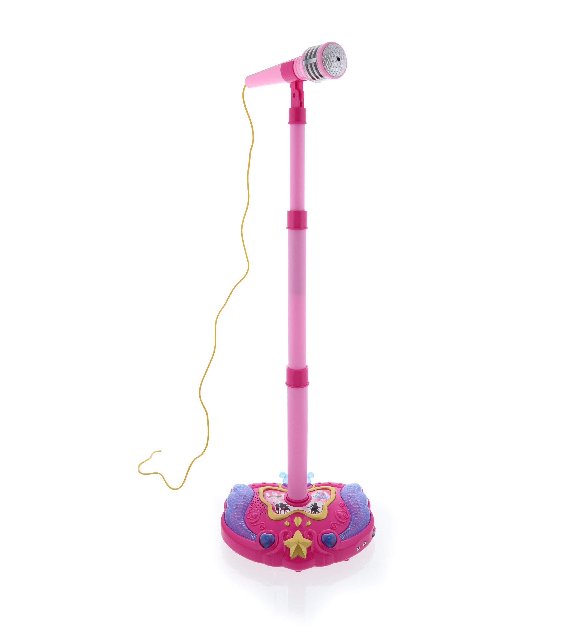 Mozlly Pink Light Up Karaoke Machine with Toy Microphone & Adjustable Stand, Connect to MP3 Player AUX Smart Phones for Solo Singing Parties Sing-A-Along Built in Speaker Flashing Lights for Kids by Mozlly (Image #1)