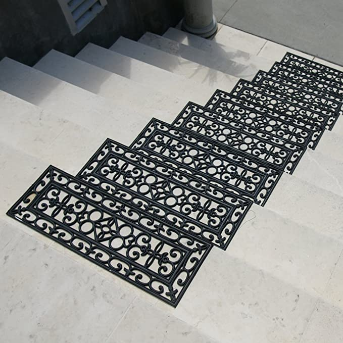 Rubber-Cal 10-104-010-6PKDiamond-Plate Rubber Stair Tread Mats - 3//16 Thick X 9-3//4 X 29-3//4 - 6 Pack