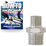 """PointZero Airbrush Reducer Nipple Fitting 1/4""""-1/8"""" BSP Male-Male"""