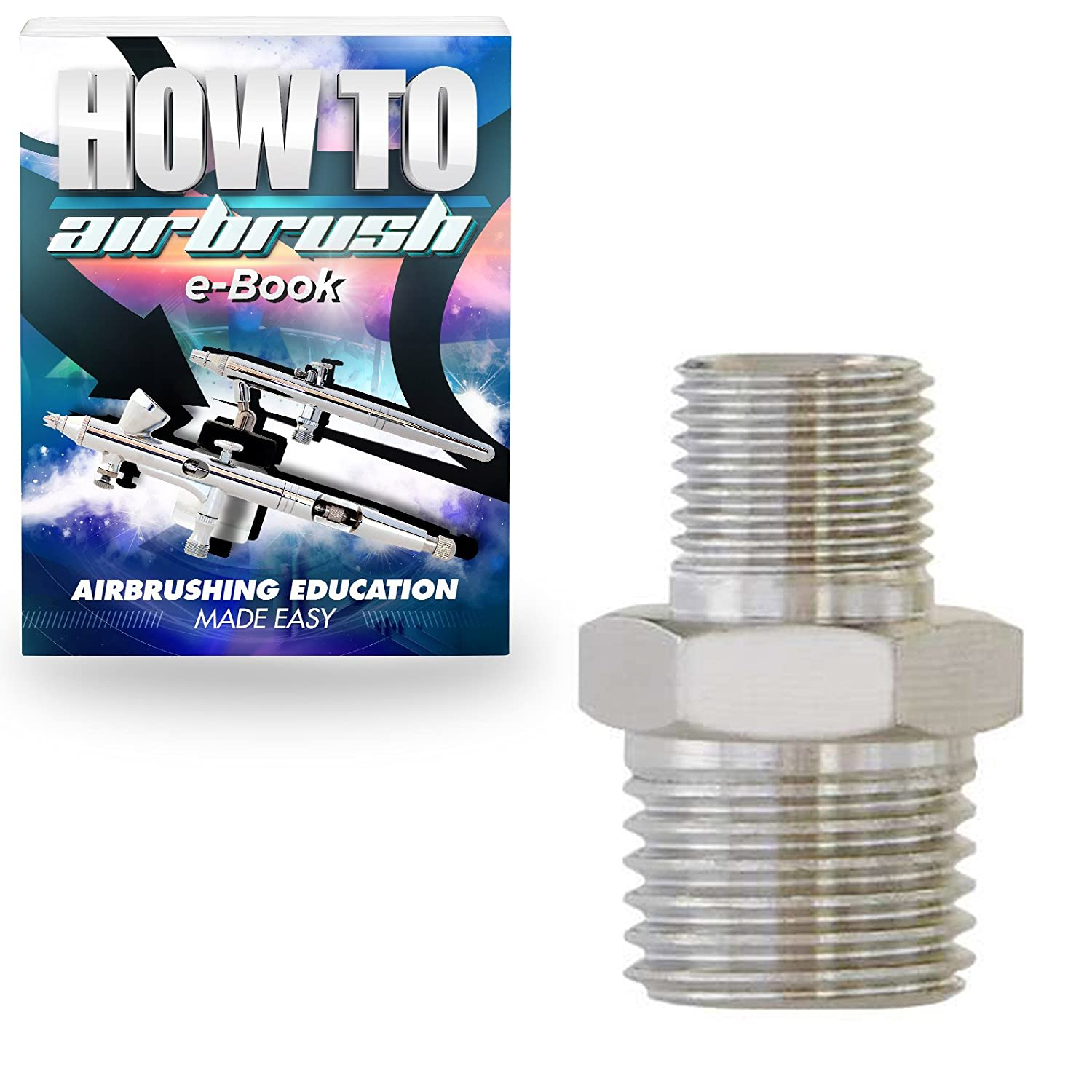 PointZero Airbrush Reducer Nipple Fitting 1/4-1/8 BSP Male-Male