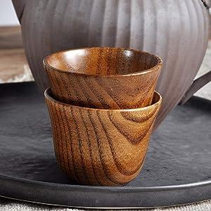 Gotian New Wooden Cup Log Color Handmade Natural Wood Coffee Tea Beer Juice Milk Muge, Natural Jujube Wood, Healthy and Natural, Small Teacup