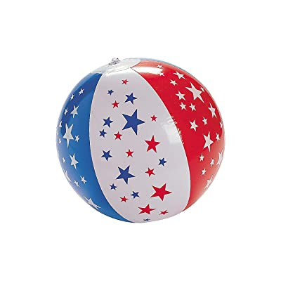 Fun Express Patriotic Beach Ball for Fourth of July (Set of 12) Red, White and Blue: Toys & Games