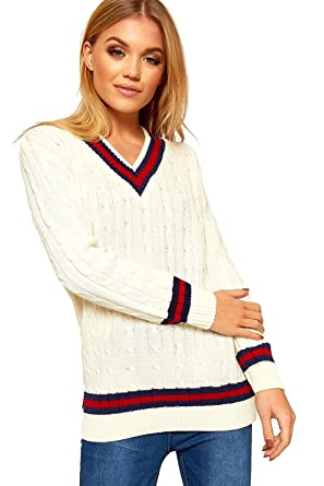 5075adf722c Ladies Knitted V Neck Cable Cricket Jumper Long Sleeve Womens Striped Top  Cream 8 10  Amazon.co.uk  Clothing