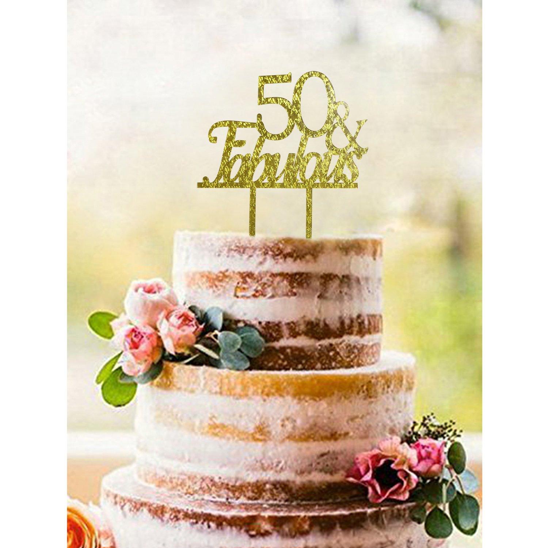 Amazon.com: Gold 50 & FABULOUS Acrylic Cake Topper - 50th Birthday ...
