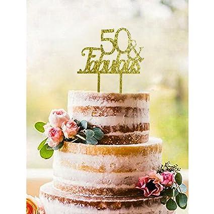 Amazoncom Gold 50 FABULOUS Acrylic Cake Topper 50th Birthday