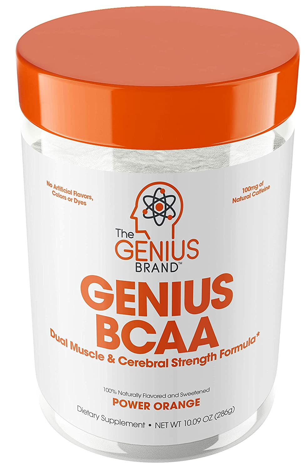 Genius Bcaa Powder with Focus Energy Multiuse Natural Vegan Preworkout Bcaas for Mental Clarity and Faster Muscle Recovery, Orange, 21sv, 9.95 Ounce, Pack of 1