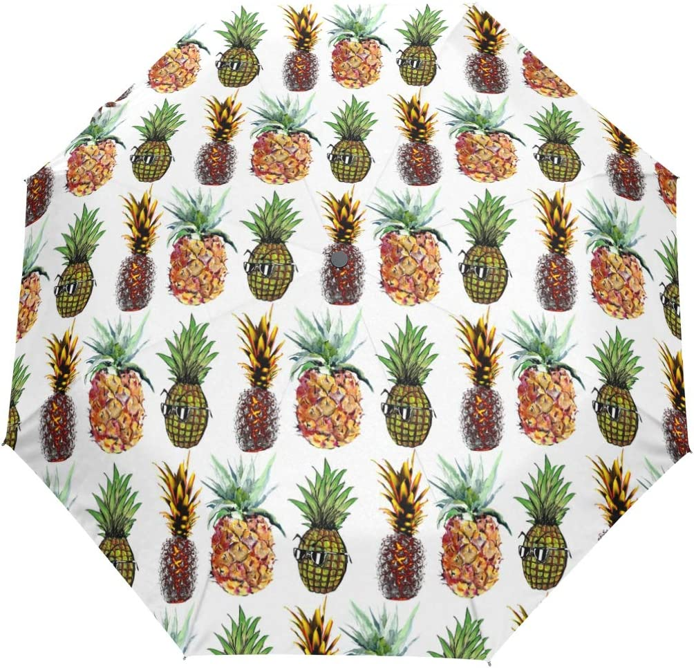 Pineapple Print fashion print cute Windproof automatic tri-fold umbrella sun UV protection Sun umbrella