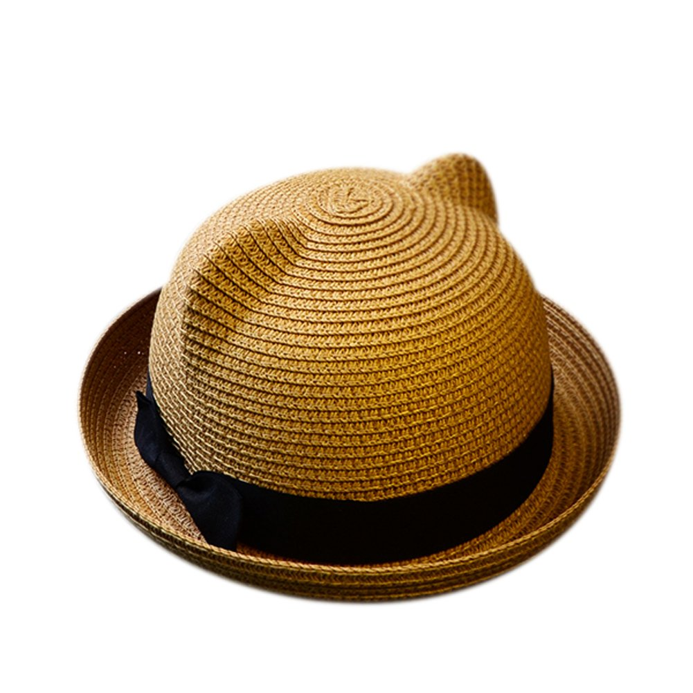 Skyingfly Summer Spring Women Lady straw cat ears shade sun hat Beach Hat (Light coffee)