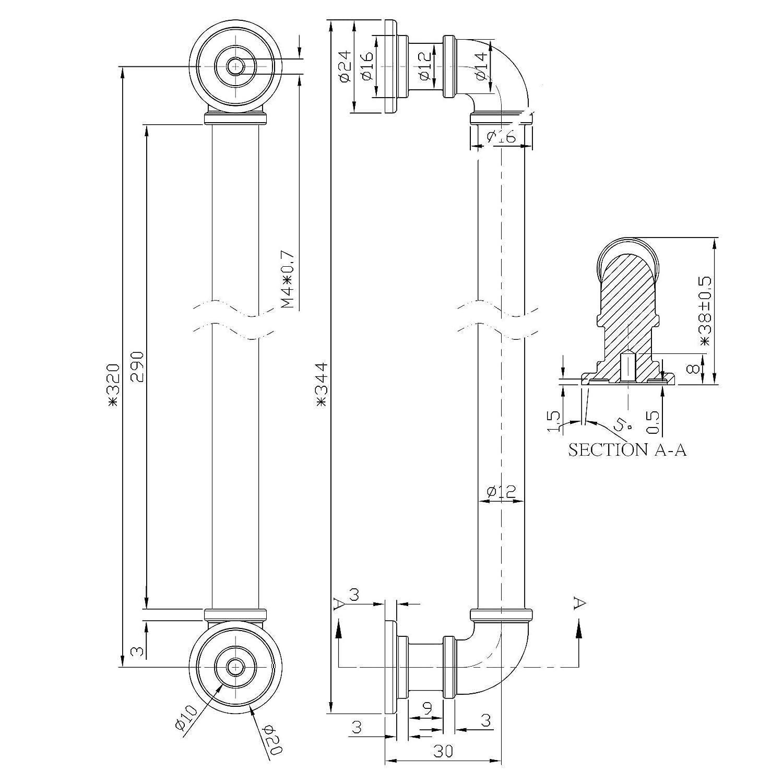 10 St/ück M/öbelgriffe TUBEOS BA 128 mm schwarz Schrankgriffe T/ürgriffe Schubkastengriffe JUNKER Design