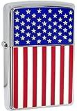 Zippo 28827 American Flag High Polish Chrome Classic Windproof Lighter NEW