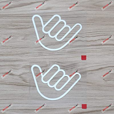 3S MOTORLINE 2X White 4'' Shaka Sign Hang Loose Decal Sticker Hawaii Hawaiian Car Vinyl: Automotive
