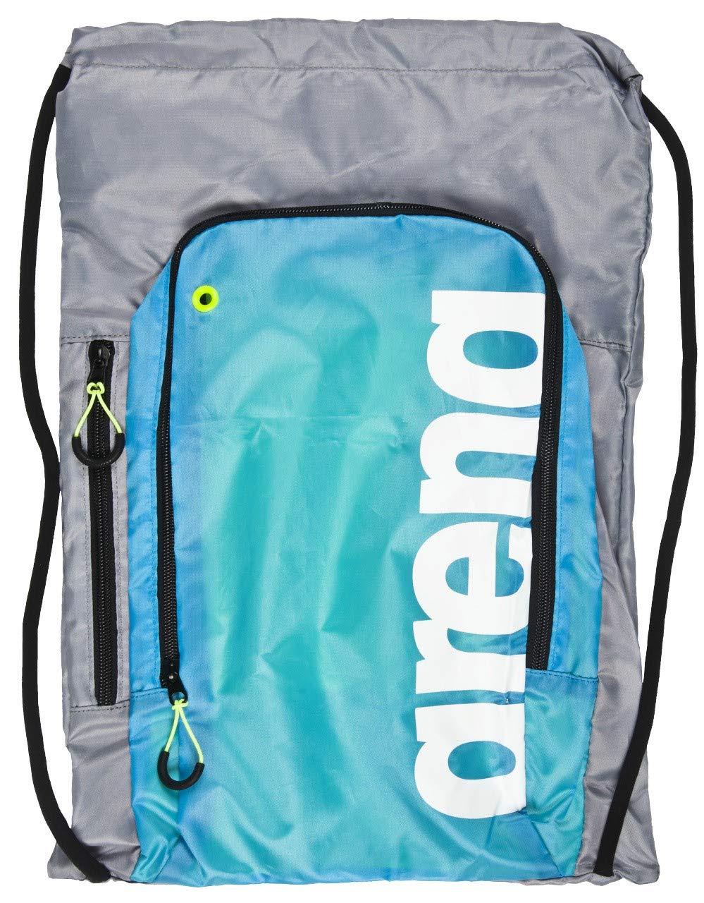 Arena Fast Sack Swim Drawstring Backpack, Grey/Light Blue