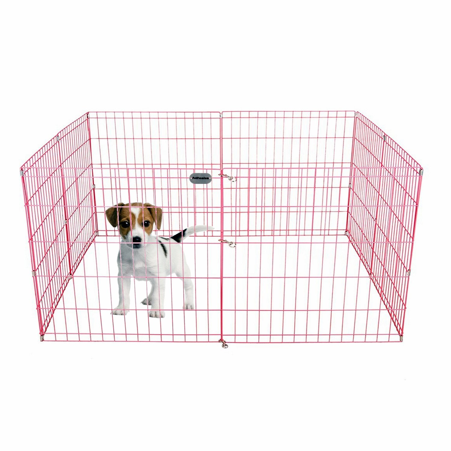 Pet Premium Dog Puppy Playpen Pen | Indoor Outdoor Exercise Play Yard Outside | Pet Small Animal Puppies Portable Foldable Fence Enclosures | 24'' Height, 8 Panel Metal Wire, Pink