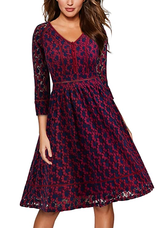 MISSMAY Women's Vintage Full Lace Contrast Flare Sleeve Big Swing A-Line Dress XX-Large