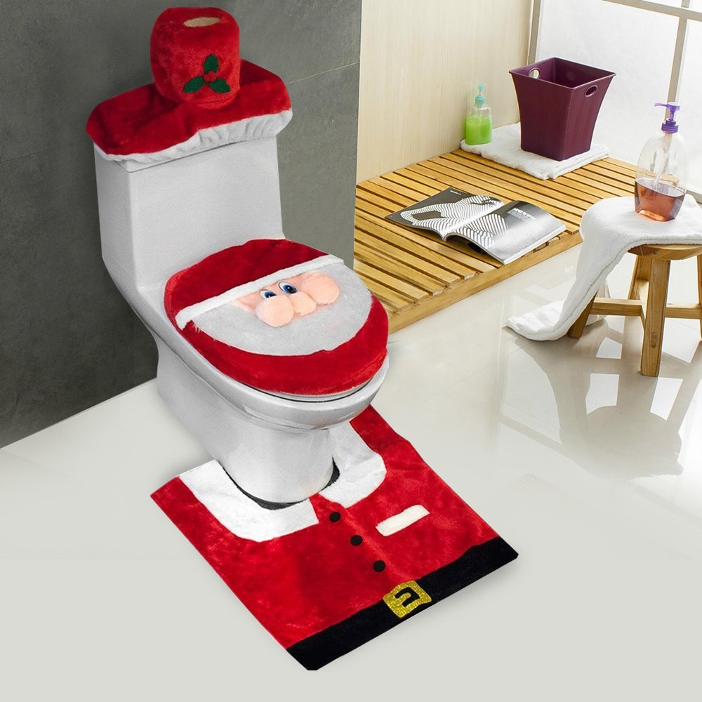 D-FantiX 3D Nose Santa Toilet Seat Cover and Rug Set Red Christmas Decorations Bathroom Set of 3