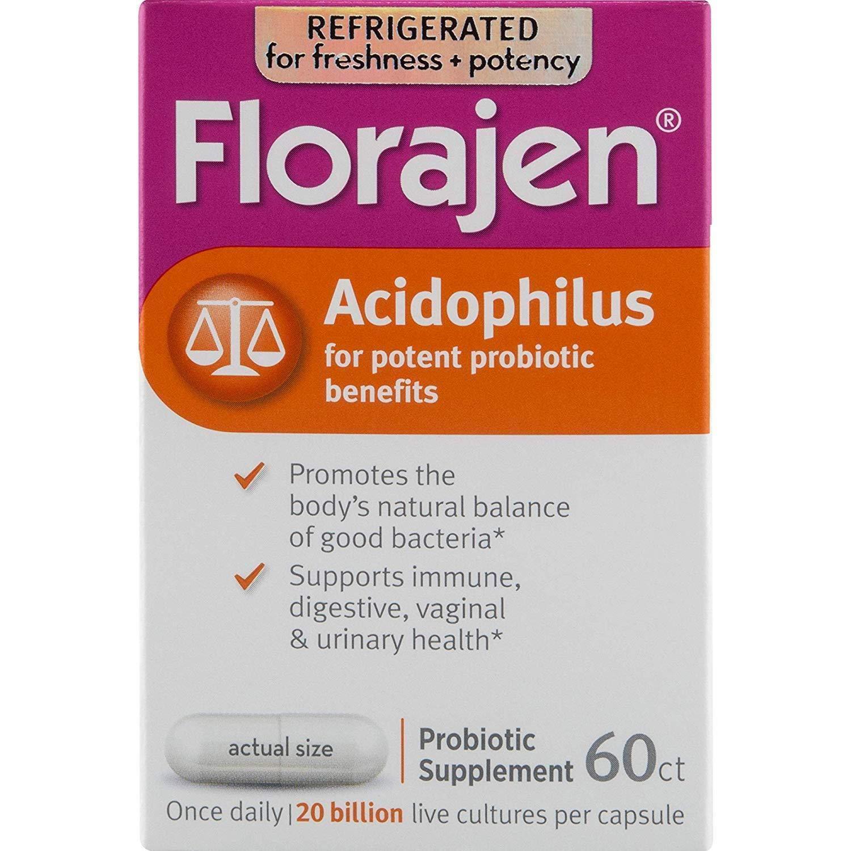Florajen Acidophilus Dietary Supplement - 60 Capsules, Pack of 4