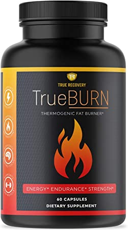 TrueBURN Thermogenic Fat Burner & Appetite Suppressant Weight Loss Supplement with Yohimbe Bark, Green Tea Extract + EGCG and Raspberry Ketones - 60 Weight Loss Pills for Men and Women