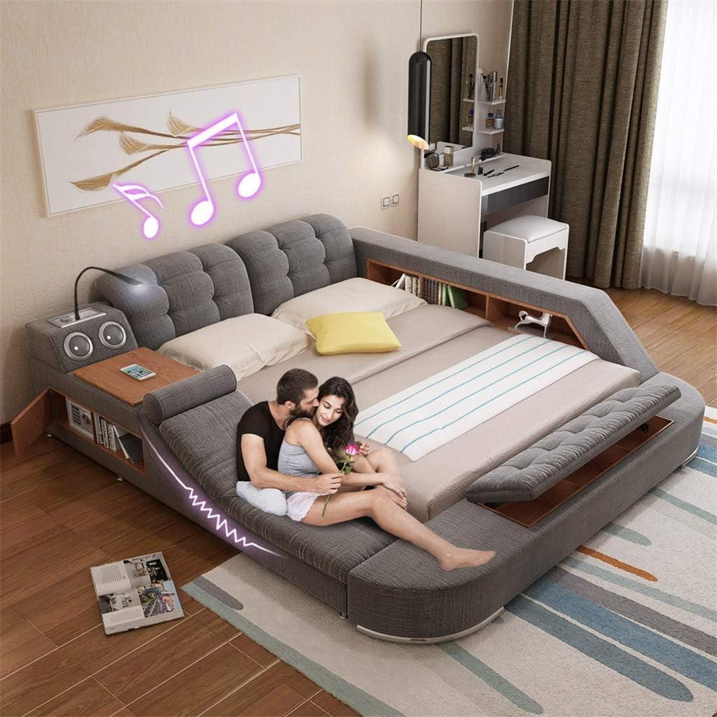 Horsein Double Bed 1 8 Meters Multifunctional Wedding Bed Modern Minimalist Master Bedroom Modern Master Bedroom Multifunctional Massage Soft Fabric Tatami Bed Amazon Co Uk Kitchen Home