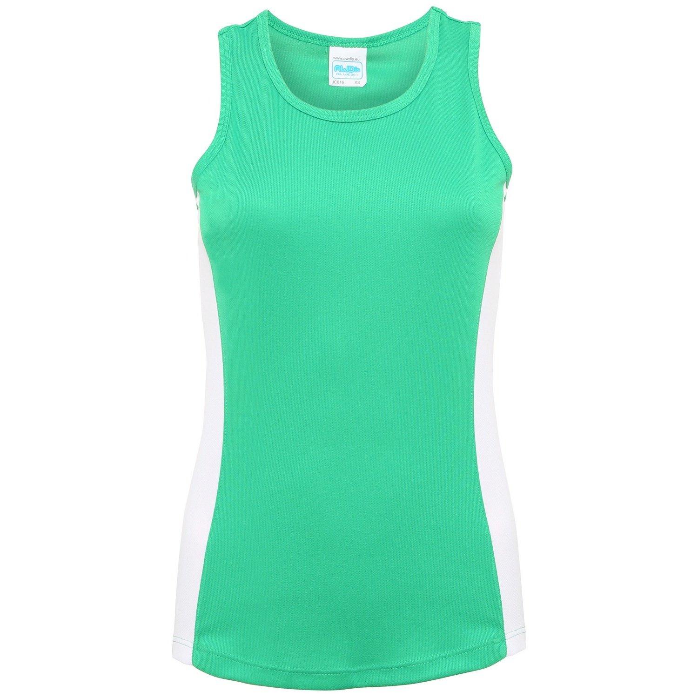 Extra Grande Awdis- Camiseta de tiranes de deporte con franjas de diferente color para mujer //Negro//Rosa el/éctrico XL