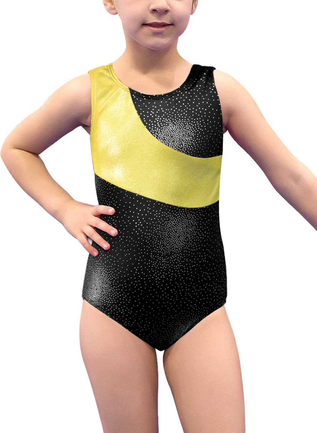 Gymnastics Leotard for Girls Stripe Starry Sky Long Sleeves Athletic Unitard for Little Girls 2-15 Years Black-Gold by DAXIANG