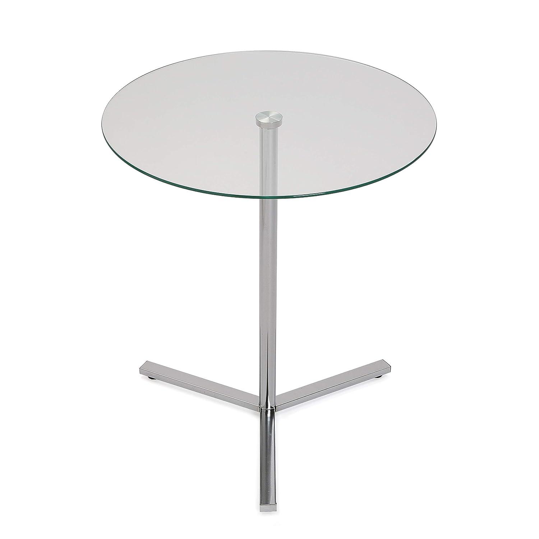 Sencilla y práctica mesa auxiliar de cristal con estructura muy resistente.