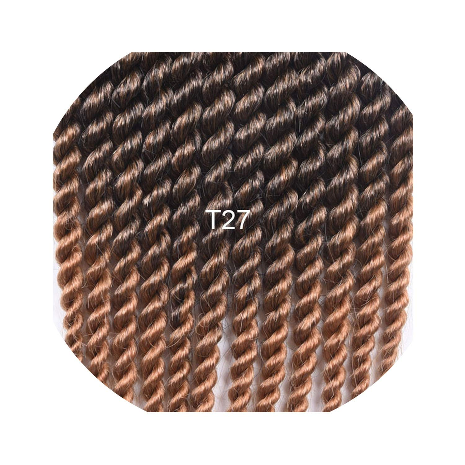 12'' 18''12 Roots/Pack Senegalese Twist Big Crochet Hair Extensions Synthetic Ombre Braiding Hair Crochet Braids 18 Colors,T1B/27,12inches,9Pcs/Lot by Beans and Balls