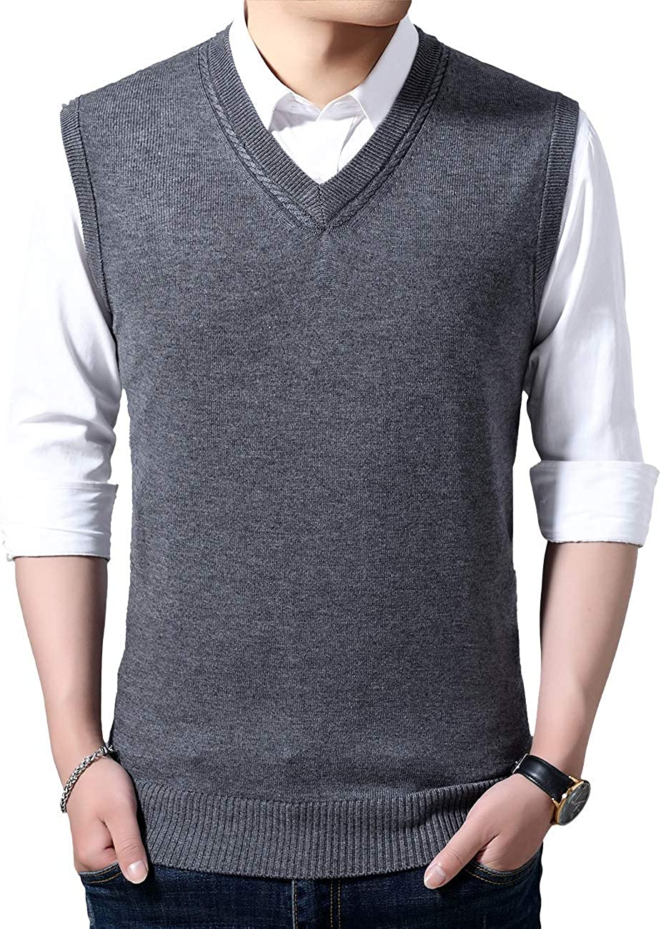 Moren Mens Winter V-Neck Sleeveless Vest Classic Business Gentleman Knitwear Knitted Waistcoat Sweater Cardigans Solid Color Tank Tops