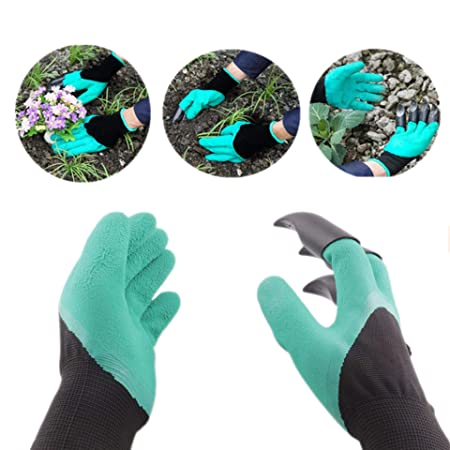 Buyerzone Gardening Gloves with Right Hand Fingertips with 4 ABS Plastic Claws for Pruning, Digging & Planting -One Size Fits All - 1 Pair Glove