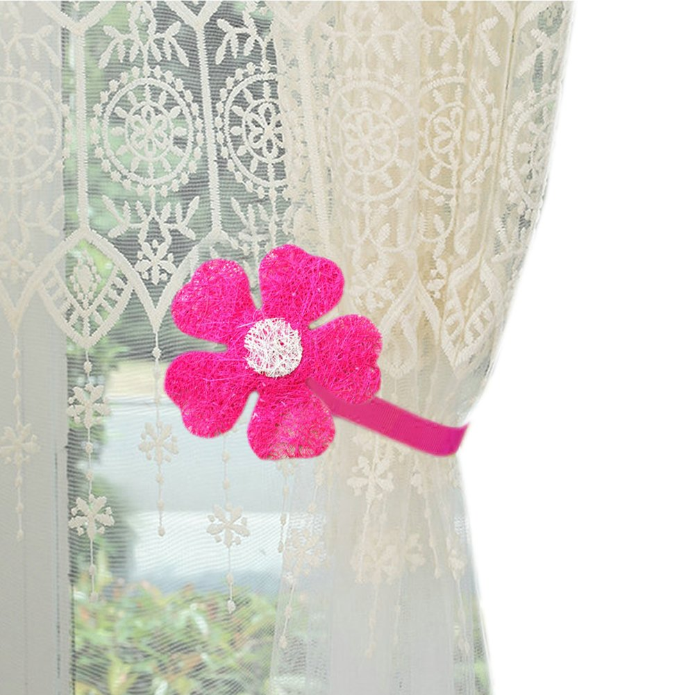 YYC 1Pair Flower Magnetic Curtain Tieback Girls Room Curtain Buckle (Rose Red)