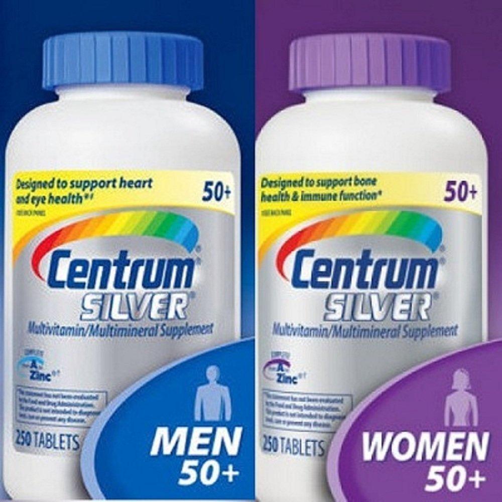 Centrum Silver Women 50+, 250 Tablets and Centrum Silver Men 50+, 250 Tablets